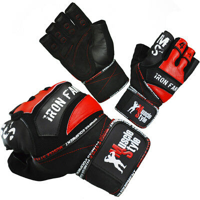 Muscle Style Iron Fan - Fitness Handschuhe Herren Trainingshandschuhe Leder Grip