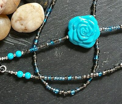 Beaded Glasses Chain - Turquoise & Grey - Glass & Acrylic - Spectacle Cord