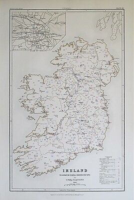 1881 IRELAND Dublin Criminal Condition of the People Prisons Bridewells Map