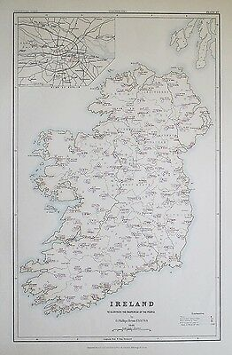 1881 IRELAND Dublin To Illustrate the Pauperism of the People Map