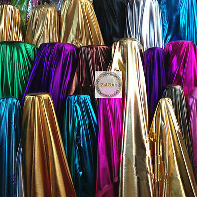 """Shine Metallic Foil 2 way Stretch Fabric Lame for Craft 59"""" Wide By Yard Meter"""