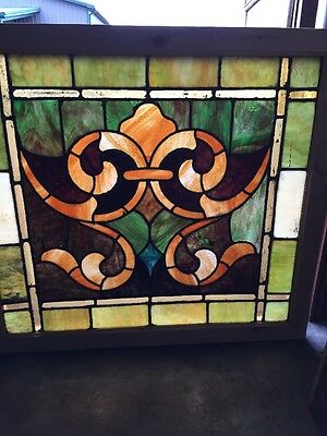 Sg 1407 Antique Stainglass Fleur-De-Lis Window 32 1/2 H By 36W