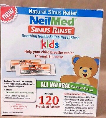 NeilMed Sinus Rinse Kids All Natural 120 Premixed Packets Exp 06/18 NEW SEALED