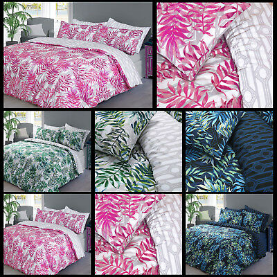 Palm Green & Navy Duvet Quilt Bedding Cover Set With Pillow Case In All Sizes