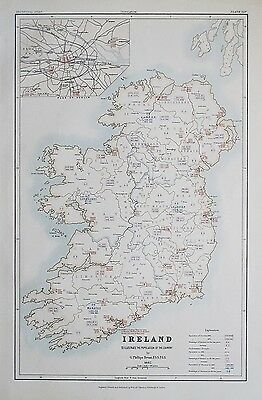 1881 IRELAND Dublin To Illustrate the Population of the Country Map