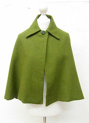 VINTAGE MOD GOGO 60s TRADITIONAL SHORT GREEN WOOL CAPE MADE IN SCOTLAND SIZE 8