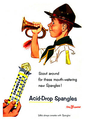 Spangles acid drops :  Vintage magazine sweet advert ,  Poster reproduction.