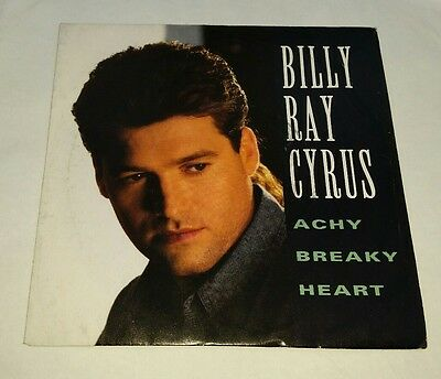 "Billy Ray Cyrus - Achy Breaky Heart 7"" Vinyl Record Country Music Single Miley"