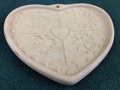 Retired Pampered Chef Stoneware 1997 Clay Cookie Mold Seasons of the Heart