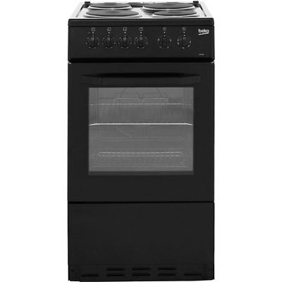 Beko BS530K Free Standing Electric Cooker with Solid Plate Hob 50cm Black New