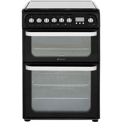 Hotpoint HUD61KS Free Standing Dual Fuel Cooker with Gas Hob 60cm Black New