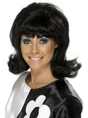Sale! Adult 60's Flick-Up Wig Short Black Ladies Fancy Dress Costume Accessory