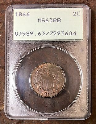 1866 Two Cent Piece PCGS MS63 RB Rattler ***Rev Tye's Coin Stache*** #3604210