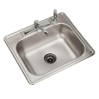 "Elkay Drop-In Stainless Steel 25"" 4-Hole All-in-One Single Bowl Kitchen Sink"