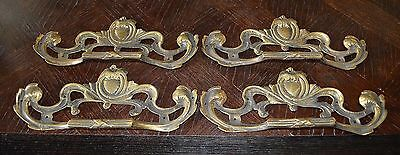 One Antique Huge French Brass Drawer Pull Ornate Handle 9""