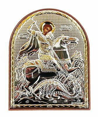 Greek Russian Orthodox Silverplated Icon St. George PO-30 8x10cm