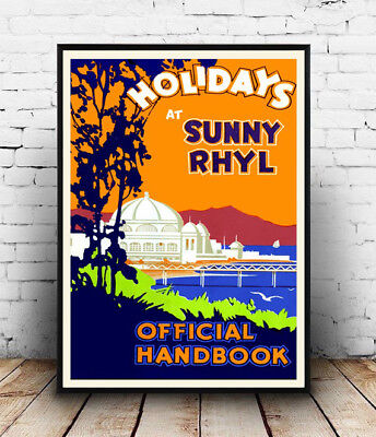 Holidays at Sunny Rhyl :  Vintage Railway travel advert ,  Poster reproduction.