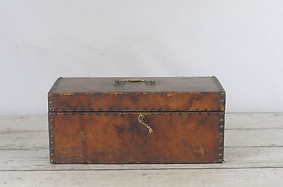 Antique Hide Covered Wood Trunk Box Document Box Studded W/Key Primitive Aafa