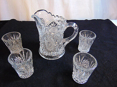 "Childs ""Oval Star""  glass crystal pitcher & 4 tumblers"