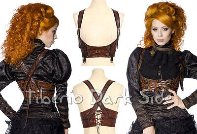 RQ-BL SP085 Brown Pirate Maid Steampunk Leather Underbust Top Chest Belt Harness