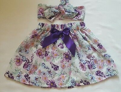 Beautiful Summer Floral Print Baby's Skirt and Headwrap New