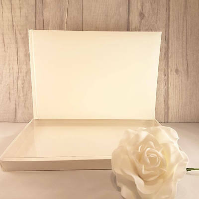 Plain/Blank Ivory Guest Book with Box. DIY for Weddings, Parties. New