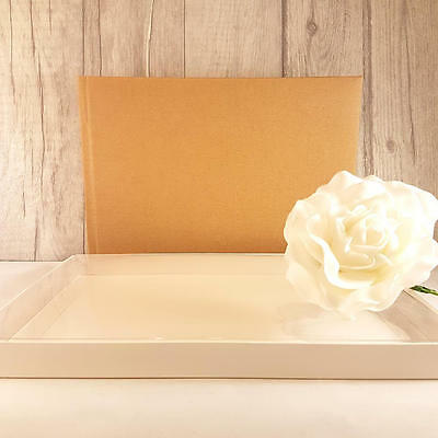 Plain/Blank Brown Guest Book with Box. DIY for Weddings, Parties. Shabby Chic