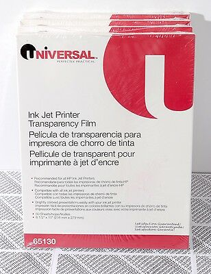 "Lot of 4 - Universal Transparency Film 8.5x11"" for Color Ink Jet Printer #65130"
