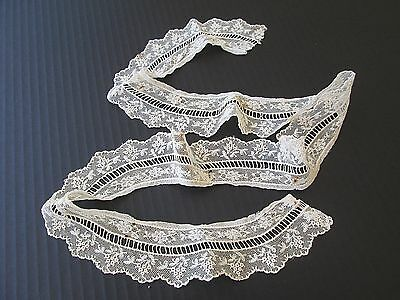 "Antique French Net Lace & Bobbin Lace Trim/flounce..antique Dolls..35"" X 2"""