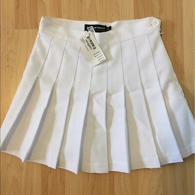 american apparel solid all white gabardine pleated