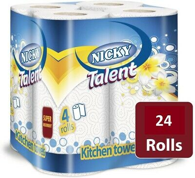 24 x White Kitchen Roll Towel 2 Ply Tissue Paper White Embossed Buy 2 Get 1 Free