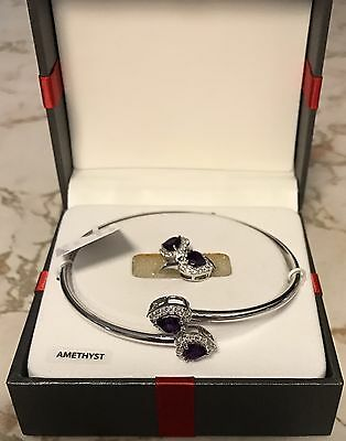 Fine Jewelry 2pc 925 Sterling Silver Amethyst Bracelet And Matching Sz7 Ring Set