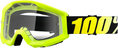 100% Clear Lens Hi-Vis Yellow Frame Strata Neon Yellow Adult Dirt Bike Goggles