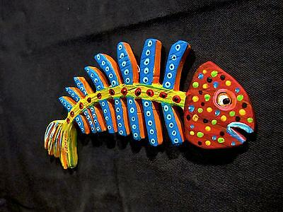 FiSH BONE~ORiGINAL HAND CUT WOOD~KENO ART FOLK Abstract outsider~COASTWALKER~USA