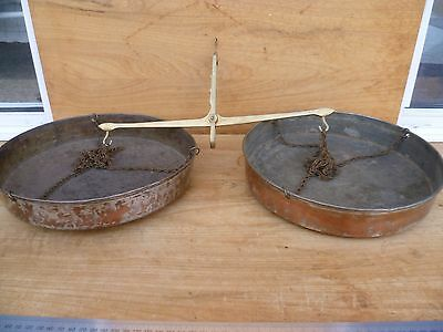 Old Large Size Brass & Copper Balance Scales, Old Kitchen Scales (E357)