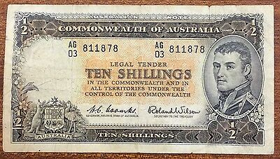 1961 10 shilling Banknote Coombs/Wilson R17 poor- VG AG03 811878'