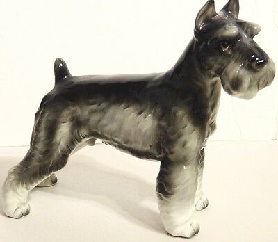 Vintage Stafford LARGE Schnauzer DOG FIGURINE Ceramic