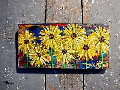 "SUN FLOWERs 4""x 8"" wood painting~Abstract KENO FOLK ART~COASTWALKER~USA"
