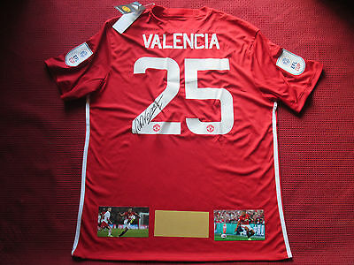 Manchester United Antonio Valencia Hand Signed 2017 League Cup Shirt-Photo Proof