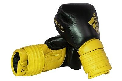 Adidas Hybrid 300 Boxing Gloves Leather 10 oz 12oz 14oz 16oz Yellow Hook & Loop