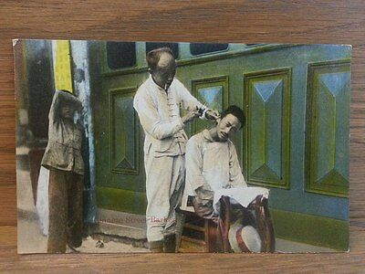 Antique Postcard of Chinese Street Barber Made in Shanghai China