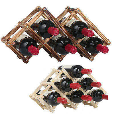 Latest Wine Rack Folding Bottle Holder 6/10 Tabletop Desk Wooden Display Shelf
