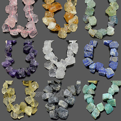 "Natural Raw Rough Nugget Gemstone Baroque Freeform Beads14-16mm 7.5"" Side Drill"