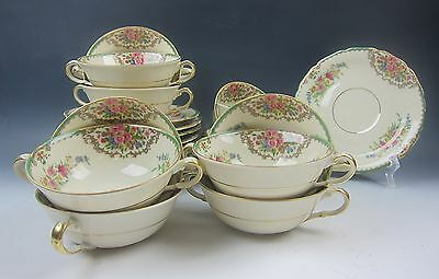 Lot of 10 Black Knight SYLVIA Cream Soup Bowl & Saucer Sets +2 Extra Bowl EXC.
