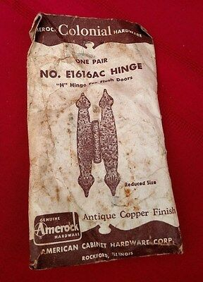 New Vintage Amerock Colonial Hardware One Pair Hinge For Flush Doors E161AC  ✞
