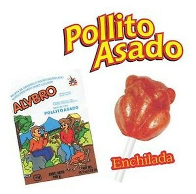 ALVBRO POLLITO ASADO 40ct, Little Grilled Chicken Lollipop, Mexican Candy