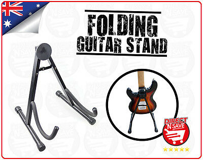 Portable Folding Electric Acoustic Bass Guitar Stand A Frame Floor Rack Black