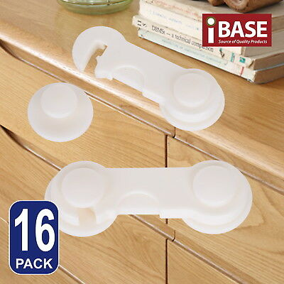 16x Baby Safety Lock Child Adhesive Kid Drawer Door Cupboard Cabinet Cute White