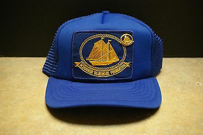 Vintage Canadian 'schooner Bluenose Foundation' Trucker Snap Back Hat With Pin