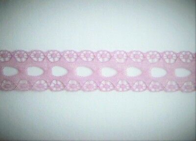 CRAFT-SEWING-LACE 10mtrs x 15mm Eyelet Lace (colour variations listed)